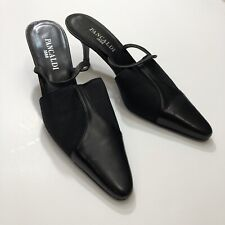Pancaldi Black Elastic Applique Pointy-Toe Slingback Pump Sz. 7 B-Italy