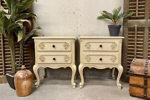 Vintage French Bedside tables / Original Paint Shabby Chic Style