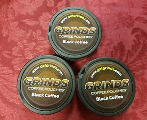 3 Containers of Black Coffee Grinds Coffee Pouches as Seen on Shark Tank New