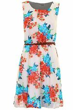 Ladies Sleeveless Belted Chiffon Lined Floral Feather Print Women's Skater Dress