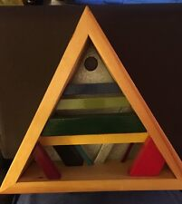 very cool signed colorful wood painted triangle decorative hanging art piece