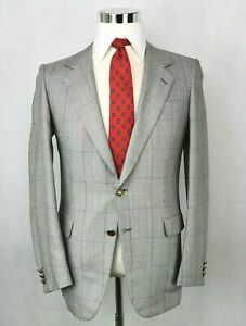 * Brioni * Silver Black & Gray Windowpane Wool Silk Blend 2-Btn Sport Coat 36 R