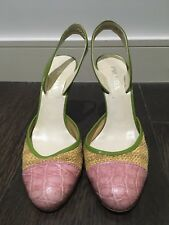 Vintage Prada Sling back Heels With Crocodile Leather (Pink/Green) EU 36.5