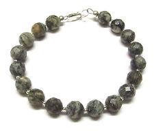Sterling Silver Bracelet with Genuine Spider Web Jasper Gemstone Beads 7.5 inch