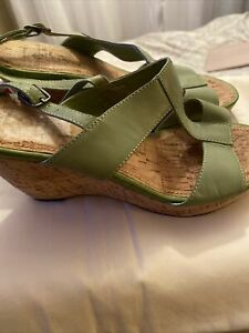 Lotus Womens Wedge Sandals Size 3 Green Leather