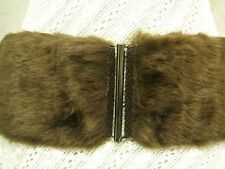 "WOMEN SOFT AND SMOOTH BROWN FAUX FUR ELASTIC BELT CHIC SILVER BUCKLE 30""-39"""