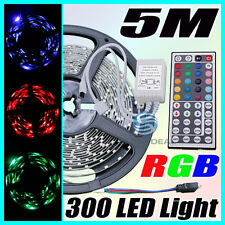 12V 5M RGB 3528 SMD 300LED Strip Light+44 key IR Remote Controller un-Waterproof