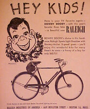 1953 Howdy Doody TV Show~Raleigh Sports Light Roadster Bicycle~Bike Print AD