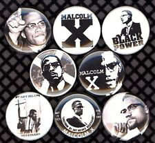 Malcolm X 8 NEW 1 inch pins button badge panthers Black panther party power