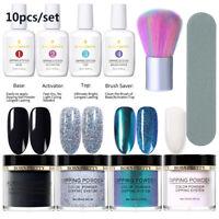 10Pcs BORN PRETTY Nail Art Dipping Glitter Powder Nail Dip Liquid Brushes Kit