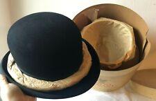 Antico cappello - bombetta con scatola/ abbigliamento d'antiquariato /come nuovo