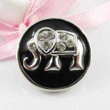 Noosa Style Enamel & Rhinestone Lucky Elephant 20mm Snap on Chunk Button