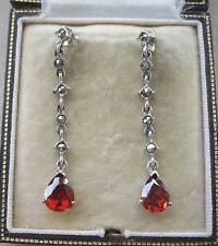 Lovely Deco Inspired Garnet & Marcasite Silver Drop Earrings