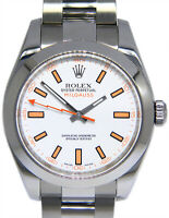 Rolex Milgauss Stainless Steel White Dial Oyster Mens 40mm Watch / Box V 116400