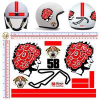 Misano circuit simoncelli race your life stickers helmet adesivi casco  13 pz.