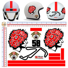 Adesivi casco misano circuit simoncelli race your life stickers helmet 13 pz.
