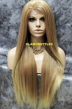 Human Hair Blend Hand Tied Lace Front Full Wig Long Medium Blonde Mix #T27.613