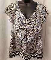 Attention Womens Multi Color Floral Striped Shirt Top Blouse Size XL