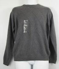 Izod Mens Sweater S Small Gray Lattice Knit Grey Crew Neck New
