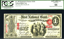 1875, $1 Fr 382 Orig Large Size National # 2126 Lincoln, Il Pcgs 66 Appt