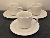 3 Gibson Four Seasons China White Fruit Embossed Pattern Flat Cup and Saucer Set