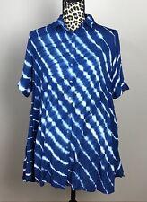 Casual Studio Women Shirt Button Down Sz S Blue Relaxed Fit Short Sleeve