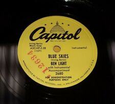 "BEN LIGHT Blue Skies/ Hindustan 10"" 78 Capitol 2680 PROMO RARE Piano Abstract"