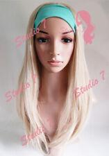 W48 Ash Bleach Blonde Mix 3/4 Hair Fall Long Straight Half Wig studio7-uk