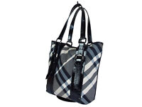 Auth BURBERRY Nova Check Nylon Canvas, Patent Leather Black Tote Bag BT0411