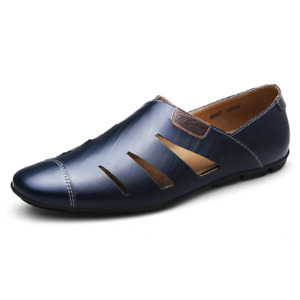 Men Spring Summer Casual Luxury Loafers Hollow Flat Soft Leather Driving Shoes