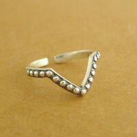 Solid 925 Sterling Silver Oxidized Wishbone Chevron V Shape Beaded Stacking Ring
