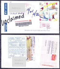 Unclaimed return Registered Letter, India to USA, Olympics Donkey complete Set (