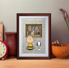 Charlie Brown e SNOOPY VS Basquiat pagina di dizionario preventivo ART PRINT lettura