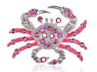 Rose Pink Crystal Rhinestone Pink Enamel Crab Crustaceans Silver Tone Pin Brooch