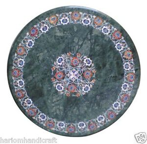 Green Marble Coffee Table Top Inlay Stone Floral Mosaic Rare Marquetry Art H1578