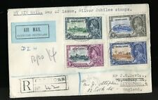 Sierra Leone KGV 1935 Silver Jubilee set used on registered airmail FDC