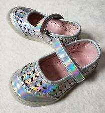Maggie and Zoe Baby Girl Silver Rainbow Shoes Size 5