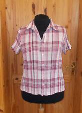 DASH off-white pink burgundy purple red check shortsleeve blouse shirt top 16 44