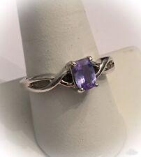 "Solod Sterling Silver Purple Amethyst Emerald ""BBJ"" 925 Ring"