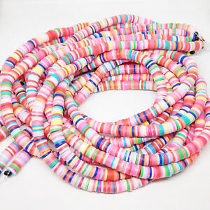 370+ Colourful 6x1mm Polymer Clay Heishi Flat Disc Coin Beads Boho Hippie  Mix