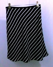 Casual Corner Annex Size 4 Petite Flared Black Diagonal Stripes Skirt Polyester