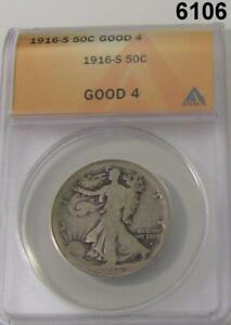1916 D WALKING LIBERTY HALF ANACS CERTIFIED GOOD 4 CLEANED #6106