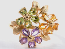 R192- Genuine 9ct SOLID GOLD Multi Gem BLOSSOM Bouquet LARGE Ring size M