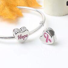 Hope Ribbon Charm, Pink Enamel Breast Cancer Awareness fits European Bracelets