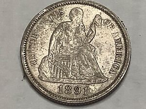 1891. Seated Dime 90% Silver 10% Copper   **Free Shipping **