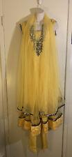 Women's Vintage India Yellow & Silver Beaded Shalwar Kameez Tunic Set, Size S/M