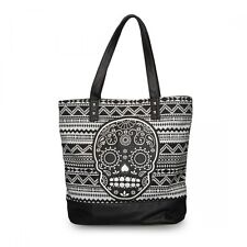 # Loungefly Purse Tote Bag Handbag Floral Skull Faux Leather Black White Canvas