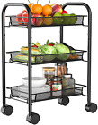 3-Tier Mesh Wire Rolling Utility Cart Multifunction Metal Organization with Lock