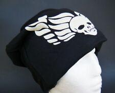 BLACK WHITE SKULL SLOUCHY BAGGY BEANIE FASHION DESIGN HAT