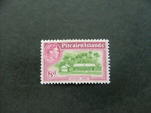 Pitcairn Islands KGVI 1951 8d olive-green & magenta SG6a MM